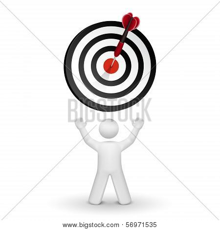 3D Person Looking Up At Dart Hitting A Target