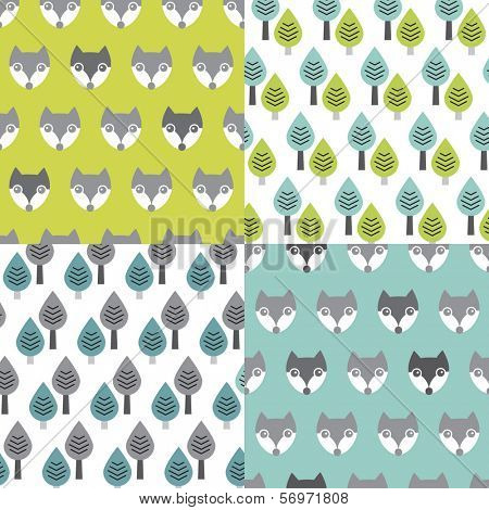 Seamless woodland pastel fox an trees illustration background pattern in vector