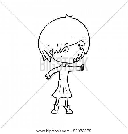 cartoon woman raising eyebrow