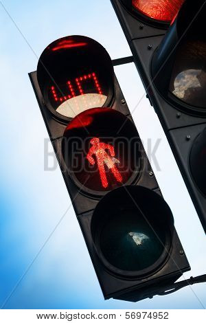 Red Stop Signal With Timer On Street Pedestrian Traffic Light