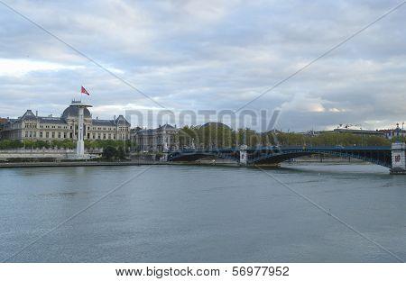 Lyon University and University Bridge in Lyon, France