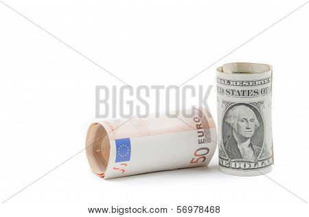 Rolled Up Euro And Rolled Up Dollars Banknote On White Background, Concept For Business And Save Mon