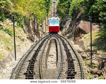 Red Rack Railway Climing Up The Hill
