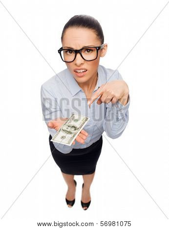 business, money and banking concept - smiling businesswoman in eyeglasses pointing finger to dollar cash money