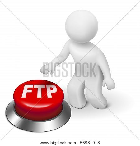 3D Man With Ftp ( File Transfer Protocol ) Button