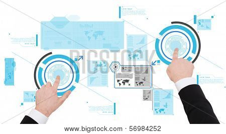 business, new technology and communication concept - close up of businessman working with virtual screen