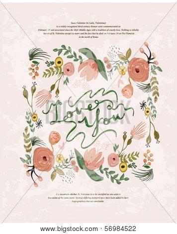 Romantic cartoon invitation valentine card flowers 4