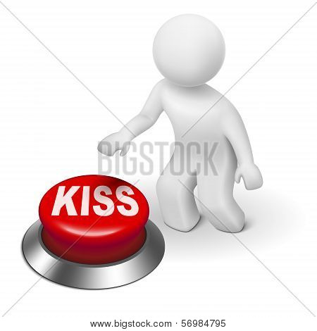 3D Man With Kiss ( Keep It Simple, Stupid) Button