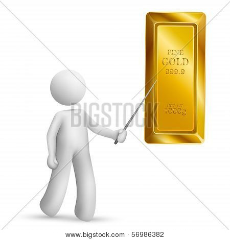 3D Person Pointing At Bullion