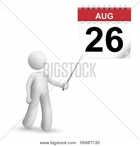 3D Person Pointing At A Calendar With A Stick