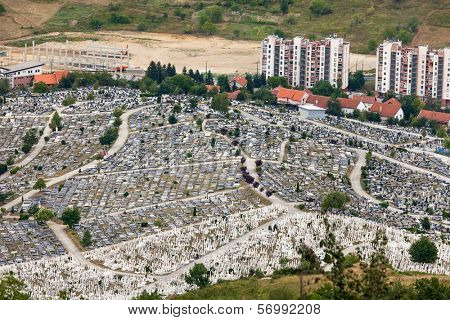 SARAJEVO, BOSNIA AND HERZEGOVINA - AUGUST 12, 2012: Aerial view of Bare´s cemetery on the outskirts of Sarajevo.