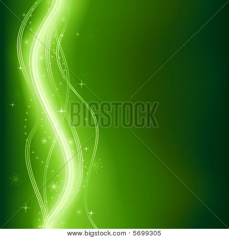 Green glowing vector phantasy background with stars