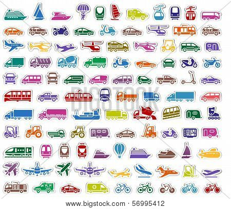 104 Transport icons set stickers