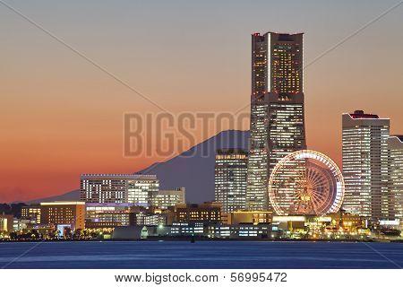 Yokohama city over the Mt. Fuji