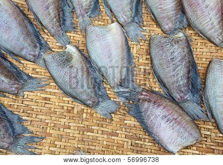drying snakeskin gourami fish in threshing basket