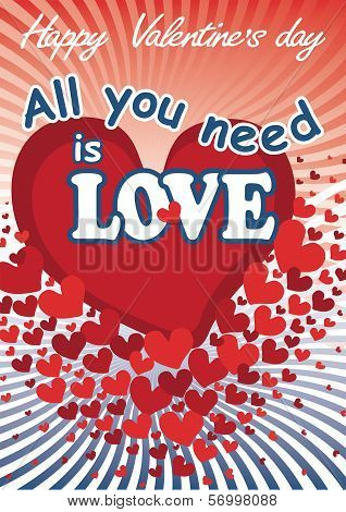 Flying Red Hearts In Valentines Card. All You Need Is Love.vector
