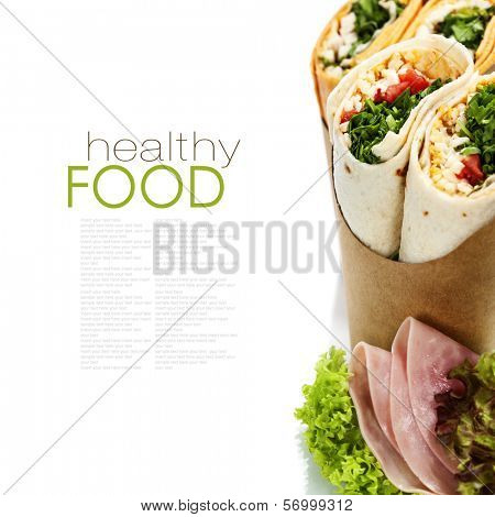 tortilla wraps with chicken and fresh vegetables isolated on white (with easy removable sample text)