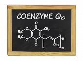 chemical formula of coenzyme q10 on a blackboard
