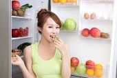 stock photo of refrigerator  - Healthy Eating Concept  - JPG