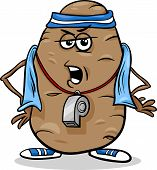 stock photo of couch potato  - Cartoon Humor Concept Illustration of Couch or Coach Potato Saying or Proverb - JPG