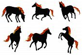 Sets Of Silhouette Fire Horses, Create By Vector