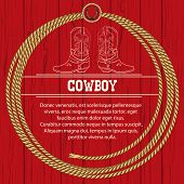 pic of lasso  - American background with cowboy boots and rope frame - JPG
