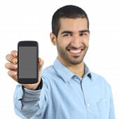 picture of muslim man  - Arab casual man showing a mobile phone application isolated on a white background - JPG