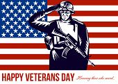 image of veterans  - Greeting card poster showing illustration of a US military serviceman saluting flag in the back with words Happy Veterans Day honoring those who served - JPG
