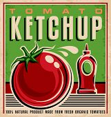 picture of 100 percent  - Vintage poster design for 100 percent natural product made from fresh organic tomatoes - JPG