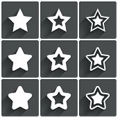 Star icons. Rating stars symbols. Feedback rating.