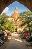 Old Pagoda With Market In Bagan