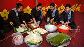 Group Of People Making Traditional Vietnam Food For Lunar New Year