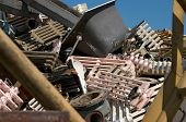 stock photo of ferrous metal  - A pile of old home fixtures for metal recycling - JPG