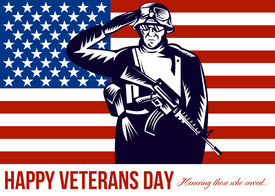 foto of veterans  - Greeting card poster showing illustration of a US military serviceman saluting flag in the back with words Happy Veterans Day honoring those who served - JPG