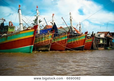 Boats In Mekong Delta Harbour