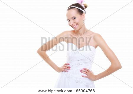 Wedding Day. Romantic Bride In White Dress Isolated