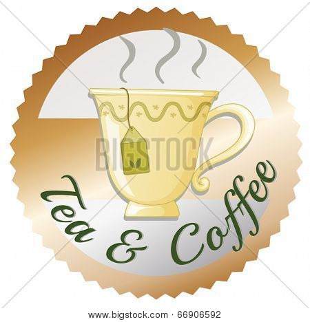 Illustration of a cup of tea with a tea and coffee label on a white background