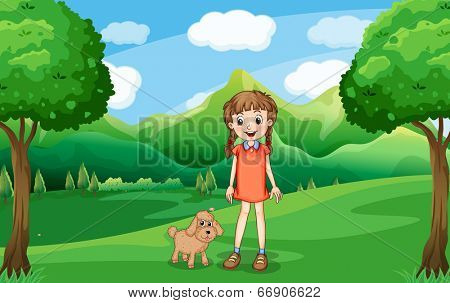 Illustration of a young girl and her puppy at the hill