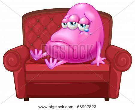 Illustration of a crying monster sitting on a red sofa on a white background