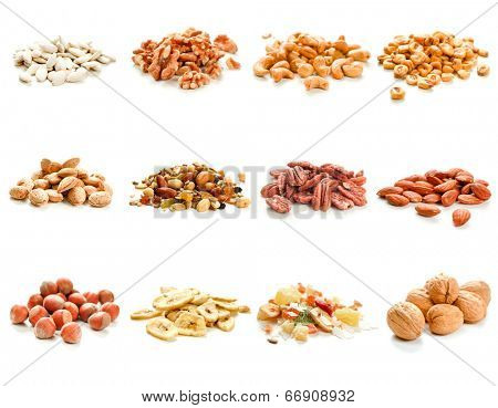 Collection of nuts and dried fruits on white background