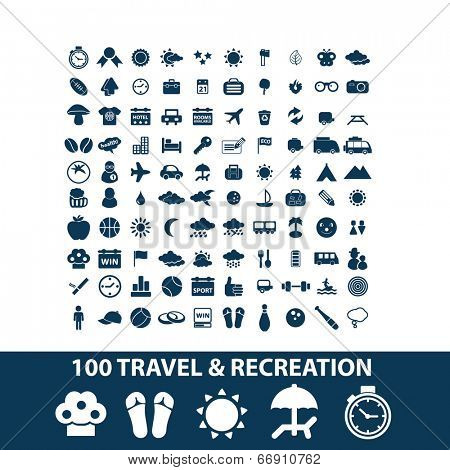 100 travel, recreation, vacation, summer, beach icons, signs set, vector
