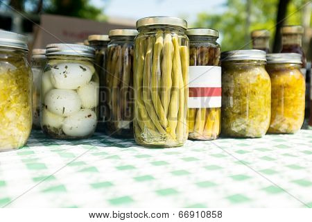 Pickled Vegetables And Eggs At Farmers Market