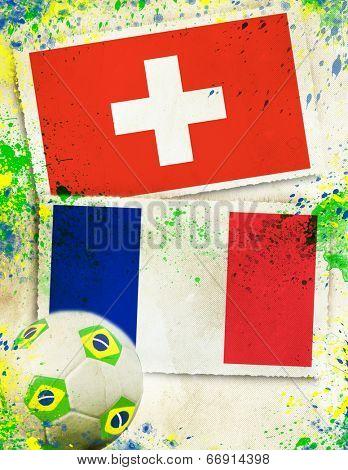 Switzerland vs France soccer ball concept