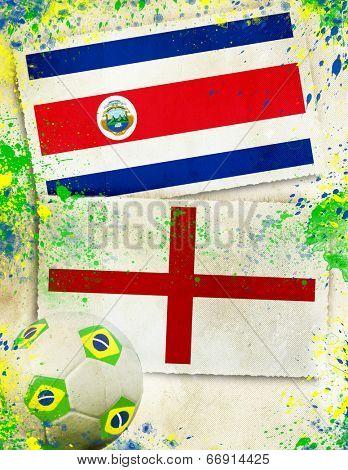 Costa Rica vs England soccer ball concept