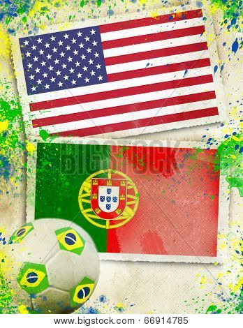 USA vs Portugal soccer ball concept