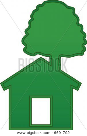 Green house with tree