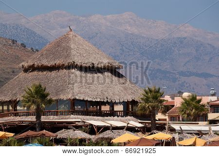 Thatched Roof Summer Cafe On The Beach