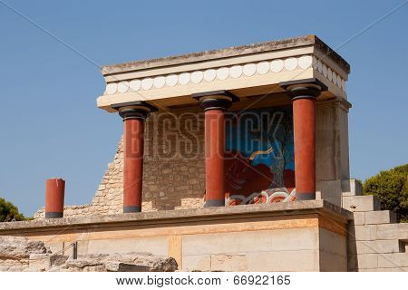 Balcony With A Colonnade, Relief Fresco Depicting Bull