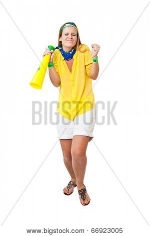 Tense Brazilian woman supporter for a missed  chance to make a goa. Isolated on white background