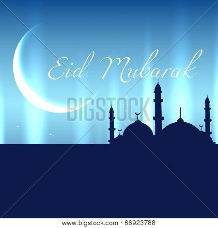 beautiful mosque eid mubarak design